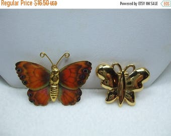 SALE 50% OFF Vintage Monet Tiny butterfly brooch with another Monarch Butterfly