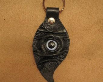 Grichels leather leaf keychain - black with blue sailfish eye