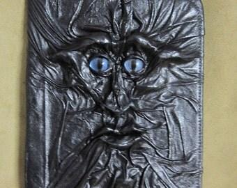 "Grichels leather 9"" universal tablet computer/e-reader cover - ""Gurag"" 29449 - black with custom metallic blue/purple slit pupil eyes"