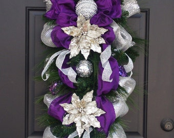 Purple and Silver Christmas Wreath, Christmas Wreath, Silver & Purple Swag, Door Wreath, Glamorous Christmas Decor