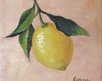 """LEMON- 6"""" x 6"""" Acrylic painting of a Lemon fruit.  One of three, Lemon, Lime, and Orange"""