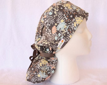 Surgical PonyTail Scrub Hat for Women - Scrub Cap - Grey Floral