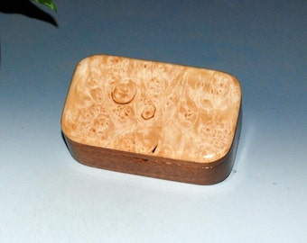 Maple Burl on Mahogany Handmade Wooden Trinket Box, Small Wood Jewelry Box, Wood Box, Wooden Box, Wood Keepsake Box. Handmade Jewelry Boxes
