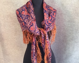 Vintage Silk Scarf,  Bohemian Ethnic Design Vintage Shawl, Fringed, Triangular, Navy Blue, Peach, Rust Paisley