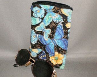 Eyeglass or Sunglasses Case - Padded Zippered Pouch - Butterfly - Turquoise - Blue - Yellow