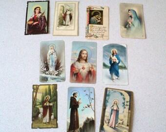 10 Vintage 1950s 1960s Holy Cards Mass Cards Catholic