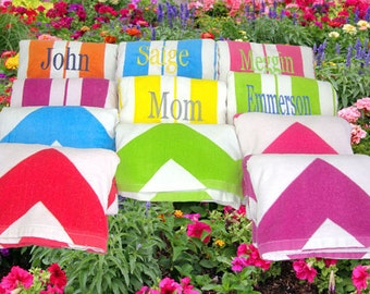2 Bridesmaids' Gifts Cabana Beach Towels Hot Pink, Turquoise, Orange, Lime, and Yellow Striped