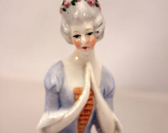 Pincushion Half Doll Porcelain Colonial Lady Germany