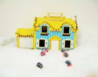 Vintage Fisher Price Little People Yellow House Set