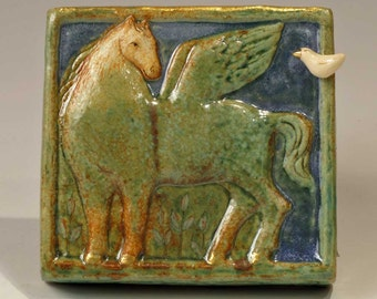 Green-blue Pegasus plaque with Bird