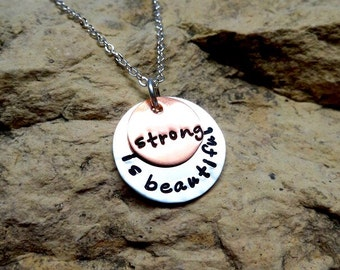 Strong is beautiful - copper and sterling silver charm
