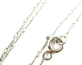 Rhodium plated Sterling Silver Chain-Fine Necklace Chain-Rhodium Necklace Chain-Fancy Twisted Wire Necklace Chain -All Sizes- Sku: 601007-RH