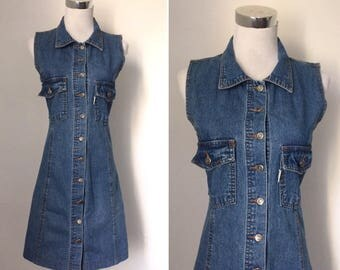 Vintage 1990s blue denim sleeveless dress / nineties stonewash denim button-down A-line mini dress - small