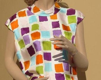 Vintage 60's - MALBE Originals - Crop Blouse with Multicolor Geometric Design