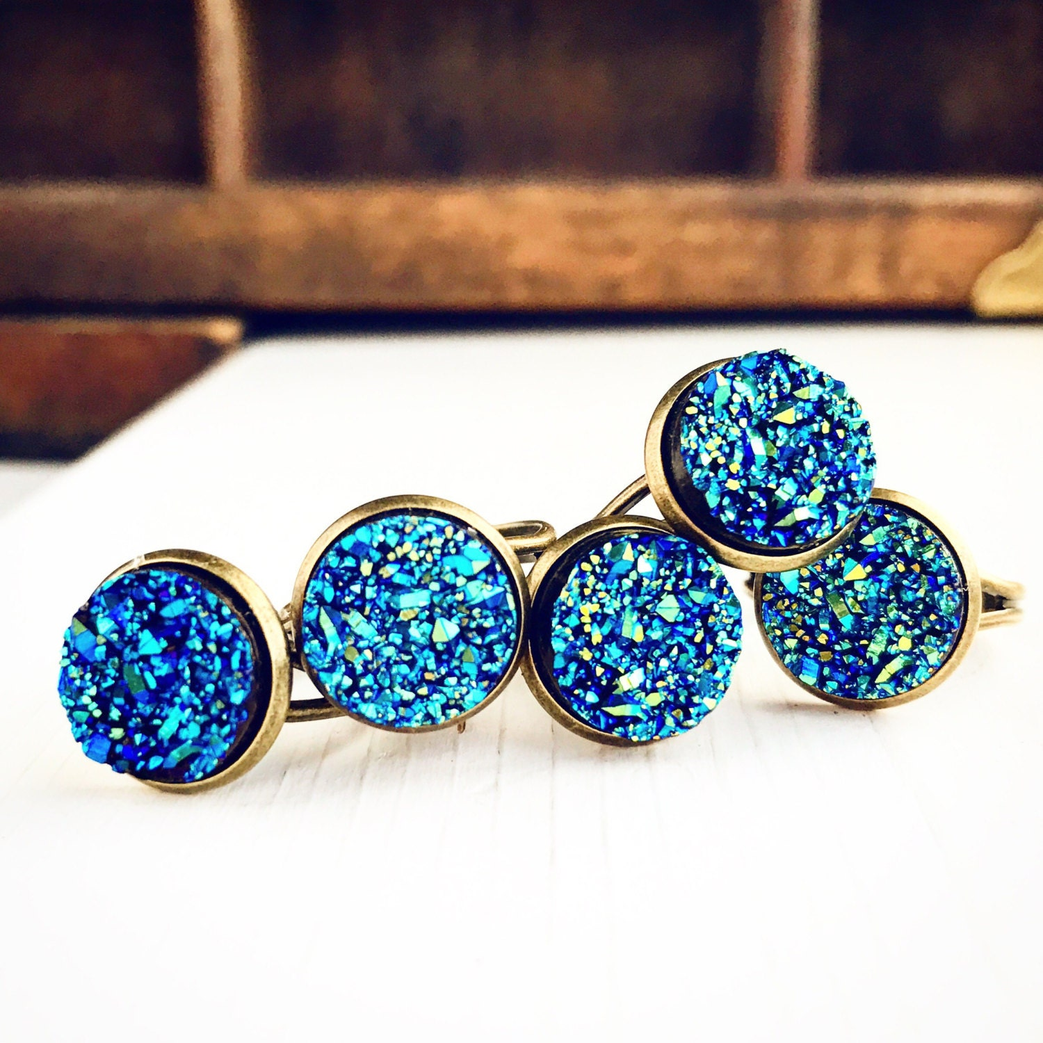 10 faux druzy rings wholesale boho lot bridal wedding