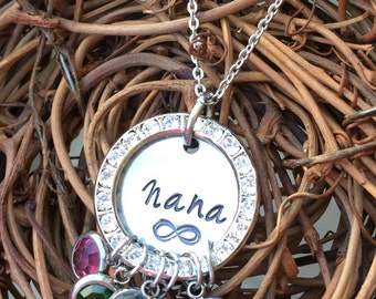 Personalized Hand Stamped Swarovski Crystal Necklace - Gift for Her