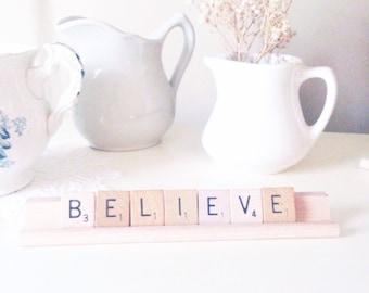 Believe Scrabble Letters Farmhouse Chic Believe Sign Rustic Home Decor Scrabble Tray