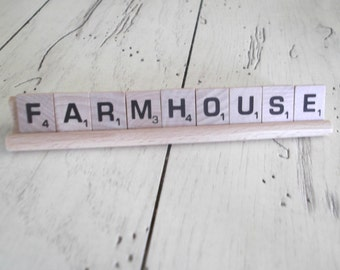 Farmhouse Sign Vintage Scrabble Letters Farmhouse Chic Sign Country Living