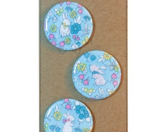 "Spring Easter Bunny Rabbit,  sealed fabric button magnet set of 3 - 1.5"" (1 1/2 inch, 38mm)"