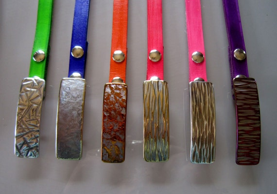 "Hand Forged Hypoallergenic Narrow Buckles to fit a 7/8"" INTERCHANGEABLE Belt ~ Variety of Textures and Colours Available ~ Signed Original"