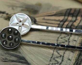 Antique Button Hair Pins - 2pc