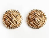 Vintage Hattie Carnegie Gold tone and Rhinestone Earrings ~ Vintage Signed Jewelry ~ Costume Jewelry ~ Hattie Carnegie Fashion Design