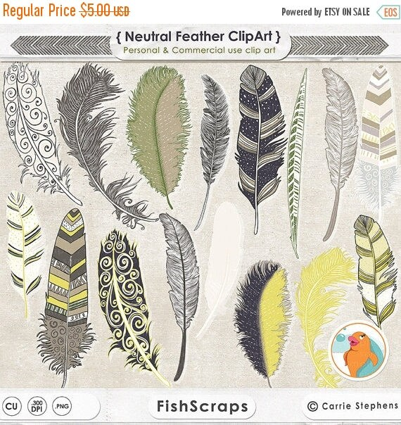 75% SALE Feather Clip Art, Yellow, Blue, Tan & Green, Masculine Graphics, Commercial Use, Father's Day Digital Images, Royalty Free ClipArt