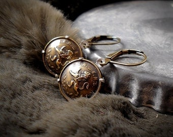 Vintage Button Earrings Brass Heraldry Earrings Lion Earrings Mixed Metal Buttons Vintage Military Academy Medieval Leo, Choice of Settings