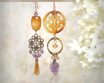 OOAK Carved Gemstone Earrings Carnelian Earrings Amethyst Earrings Long Earthy Tribal Earrings Statement Earrings Burnt Orange Purple