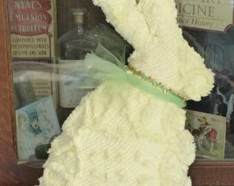 Vintage Chenille Bedspread Big Beautiful Yellow Bunny Rabbit pillow