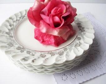 Vintage Haviland Limoges Salad Plates Valmont White Gray Set of Five