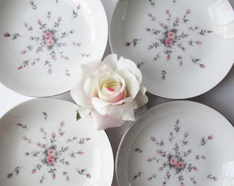 Vintage Soup Bowls Harmony House Rosebud Pink Gray Coupe Set of Four