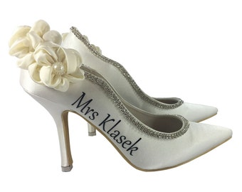 Ivory High Heel Pumps, Ruched Satin Rhinestone Pearl Embellished with Mrs Husband's last name for the Bride for Bridal Heeled 3.75 inch