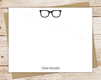 PRINTABLE personalized stationery . glasses note cards notecards . mens eyeglasses . FLAT stationery . personalized stationary