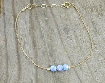 Blue Opal Bracelet, Gold Bracelet, Simple Bracelet, Gold Filled Chain, Minimalist Bracelet, Statement Bracelet, Classic Jewelry, Bracelet