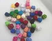 Moroccan art silk  beads/buttons,handmade, rosebud flowers rosebud  multicoloured, set of 50