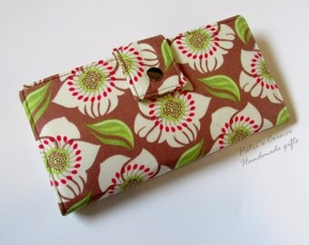 Handmade women's wallet clutch - Floral in cocoa - Ready to ship - ID clear pocket - gift ideas for her