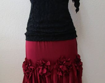 Burgundy color multi-layers dancing skirt with 4 roses decoration and much more (v34)