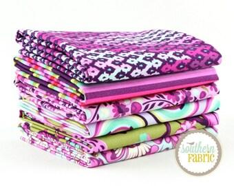 "Chipper - Raspberry - Fat Quarter  Bundle - 6 - 18""x21"" Cuts - Tula Pink - Free Spirit Quilt Fabric"