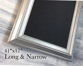 """MODERN FRAMED Chalkboard Long and Narrow Kitchen Chalkboard 41""""x17"""" Silver Magnetic Chalk board Modern Chalkboard Office Organizer"""
