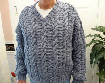MEN'S SWEATER, Blue denim color,hand knitted,  extra large men's size, intricate stitch design, heavy weight acrylic yarn, v-neck style .