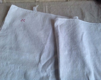 Antique Cotton & Linen Tea Towel, Kitchen Dish Cloth. Monogramed JC, Red Embroidery. One pc / Rustic Farmhouse