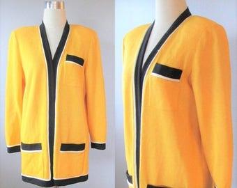 40% OFF SALE Vintage 1980's ST John Sportswear Sweater Blazer / Mustard Yellow and Black Modern Long Length High Quality Designer Suit Jacke