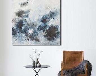 Original abstract seascape painting square blue white black painting 'one day of the sea'