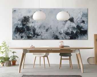 """Original large blue white abstract seascape painting """"let me count the waves"""""""