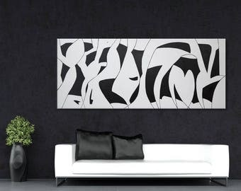 Original large abstract painting black white minimalist painting wall art 72x30 Elena