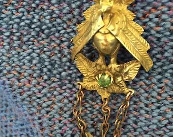 Vintage Brass brooch earring Turkey South American