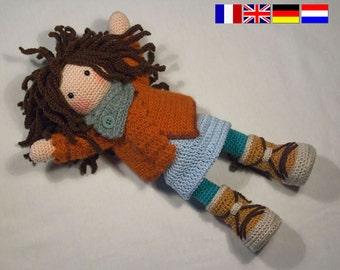 Crochet pattern for doll MONJA (Deutsch, English, Français, Nederlands)