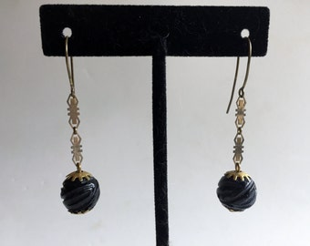 Victorian Mourning Earrings Whitby Jet Original
