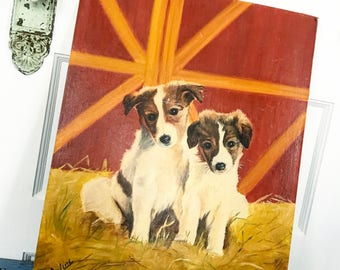 SOLD IG Vintage Puppy Painting, Vintage Dog Painting, Canvas Board, 1979s Painting